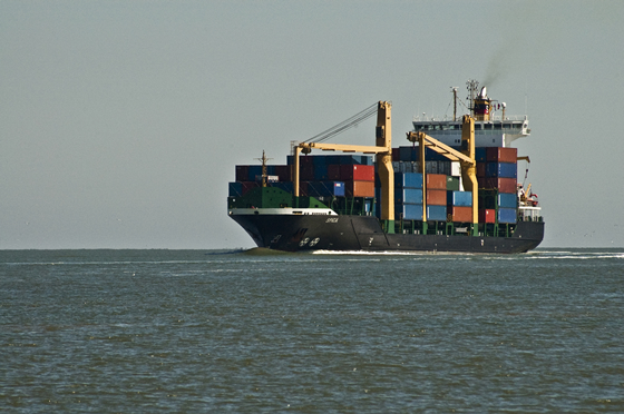 Container ship entering the Amelia River